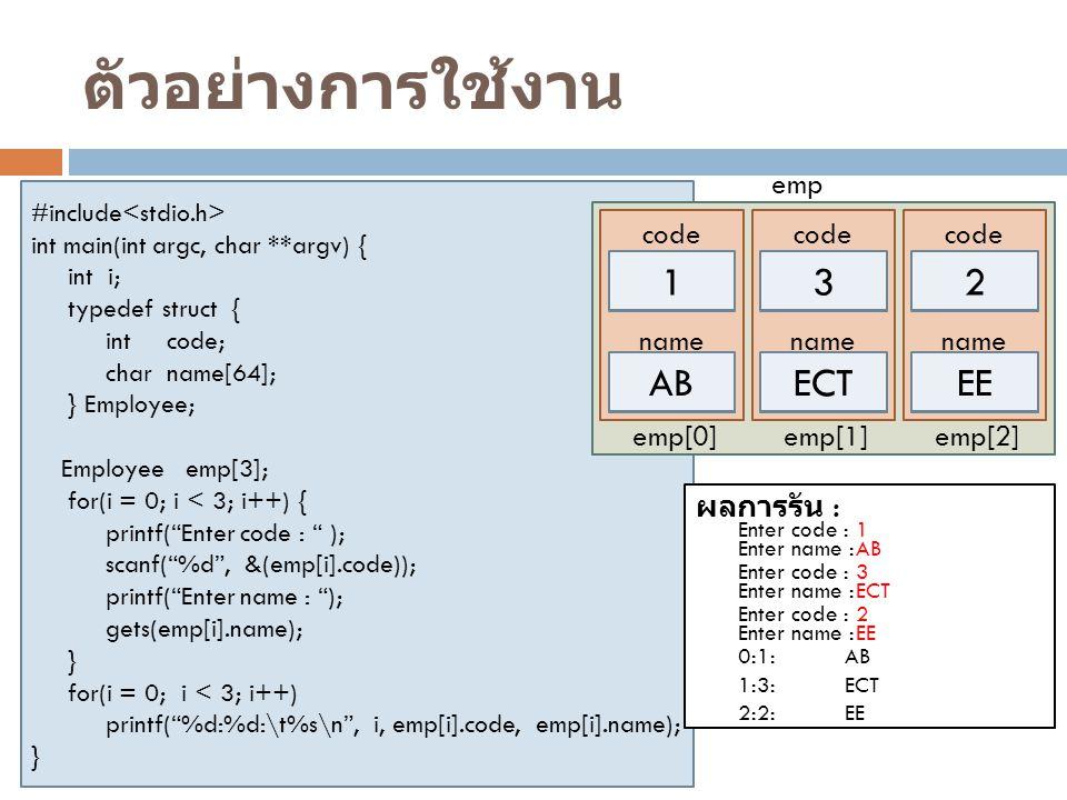 ตัวอย่างการใช้งาน 1 3 2 AB ECT EE code name emp[0] emp[1] emp[2] emp